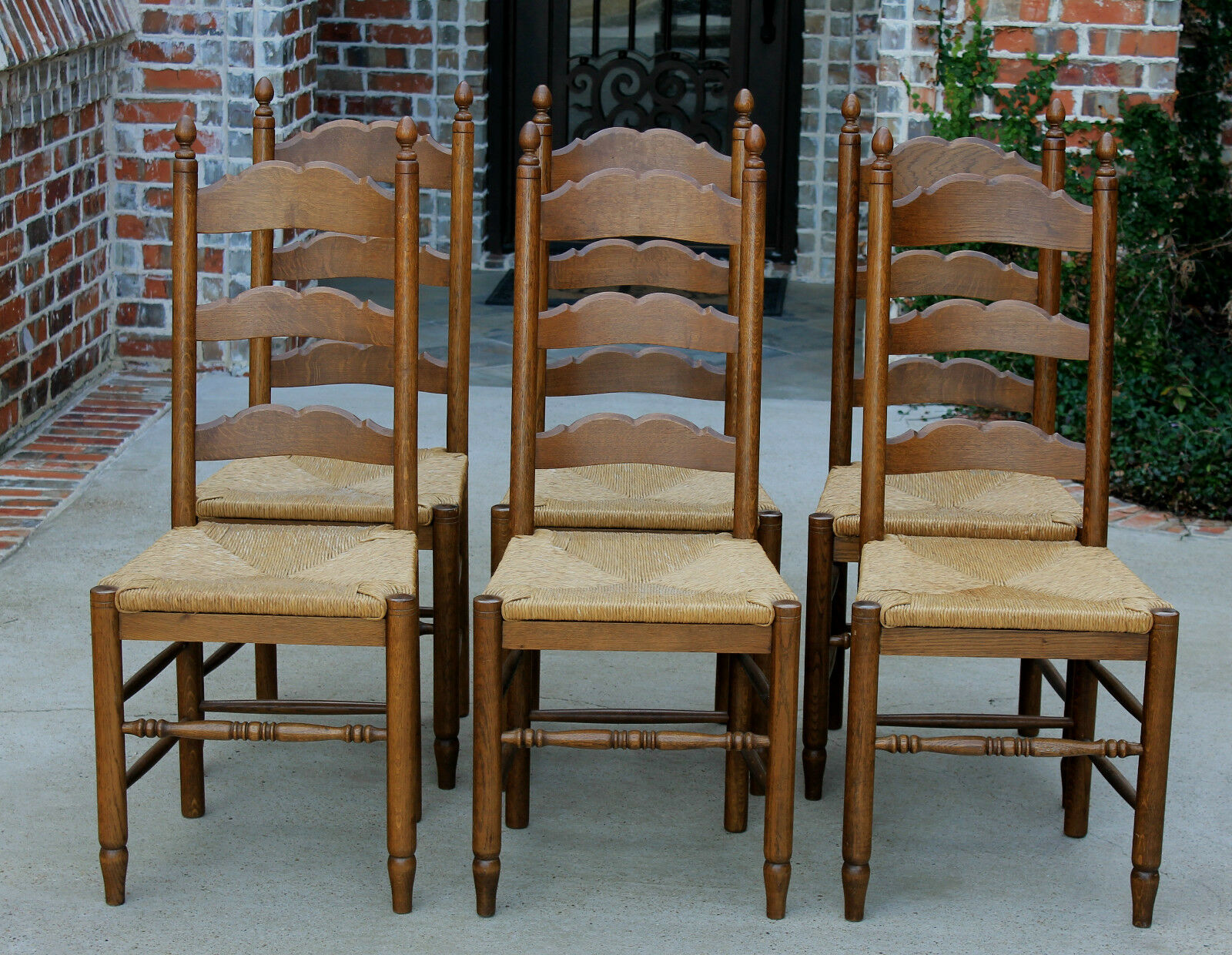 Antique french country oak set 6 farmhouse farm table for French farmhouse dining chairs