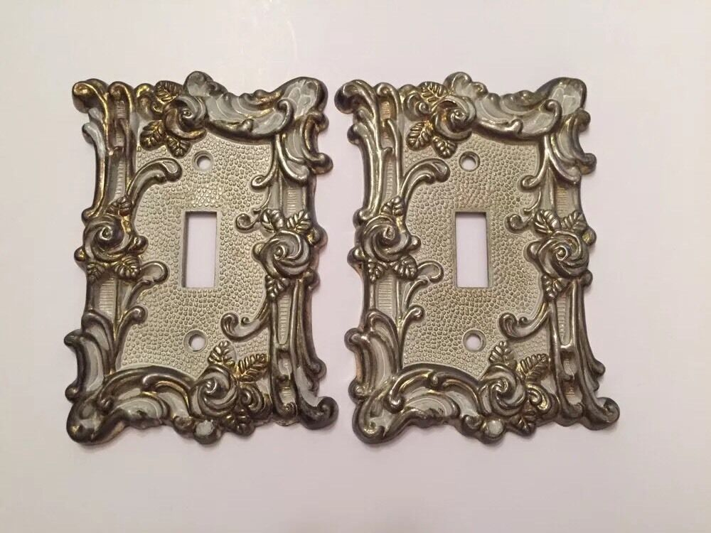 Two Light Switch Plates Gothic restoration 1967 Brass/Silver Tones With Roses