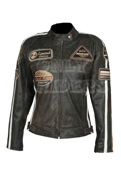 veste en cuir pour femme blouson pour moto vintage marron biker chopper eur 149 00. Black Bedroom Furniture Sets. Home Design Ideas