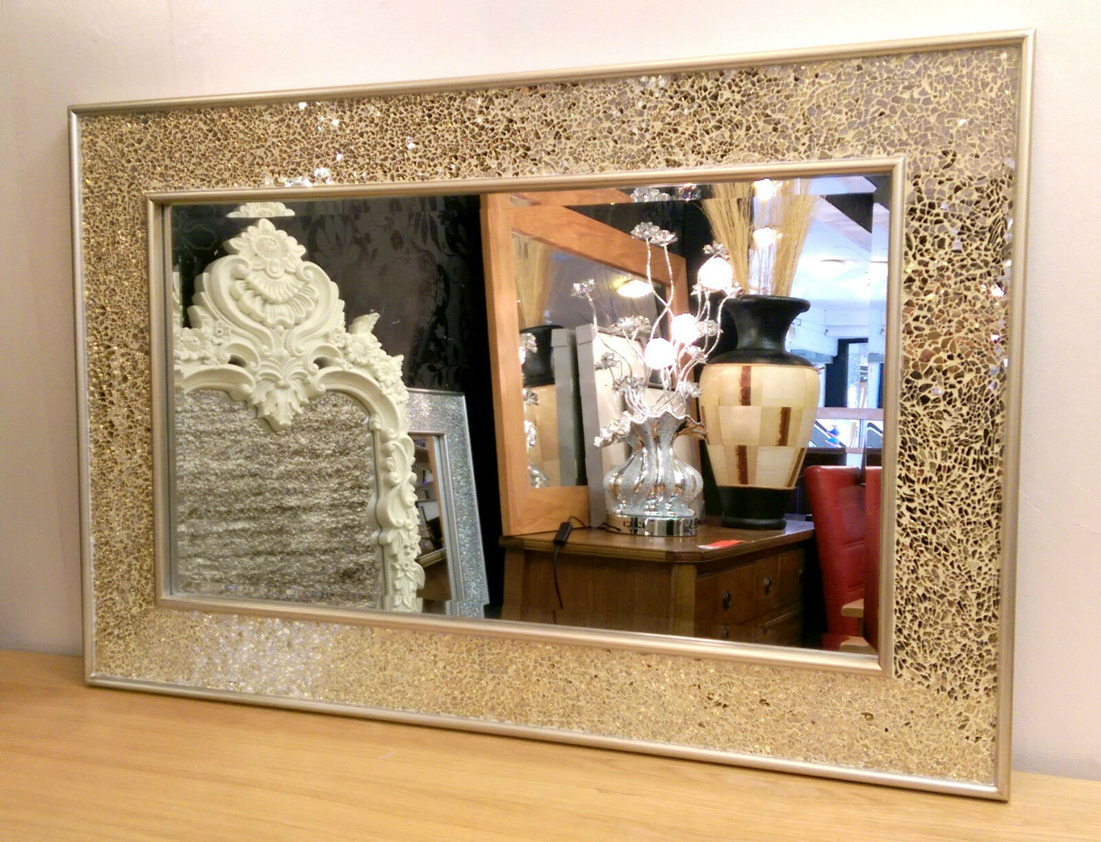 Silver Mirror Wall Photo Frame: CRACKLE WALL Mirror Champagne Silver Frame Mosaic Glass