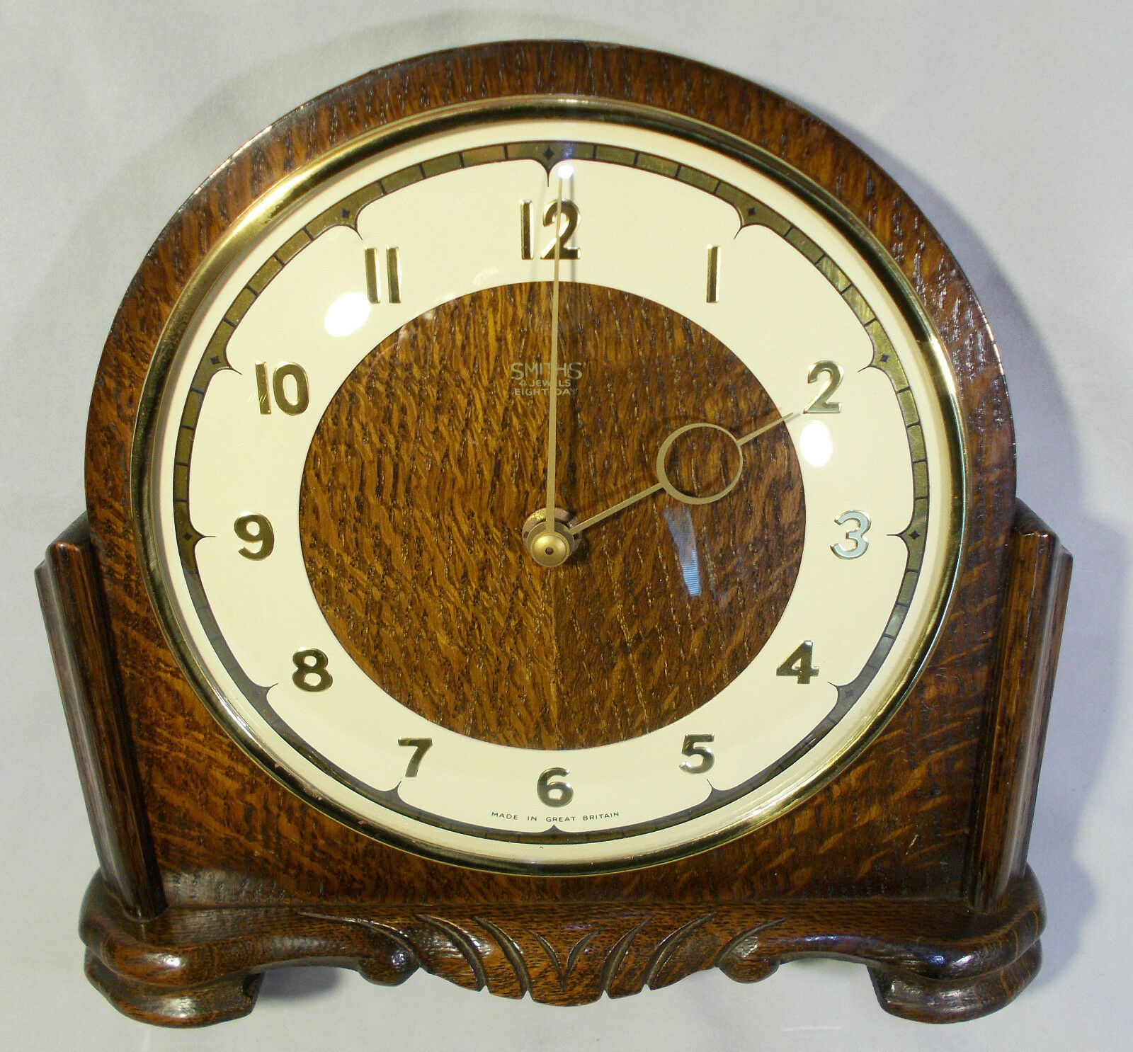 Vintage Smiths 4 Jewels Eight Day Oak Mantel Clock c1950's - FREE P&P [CLP015]
