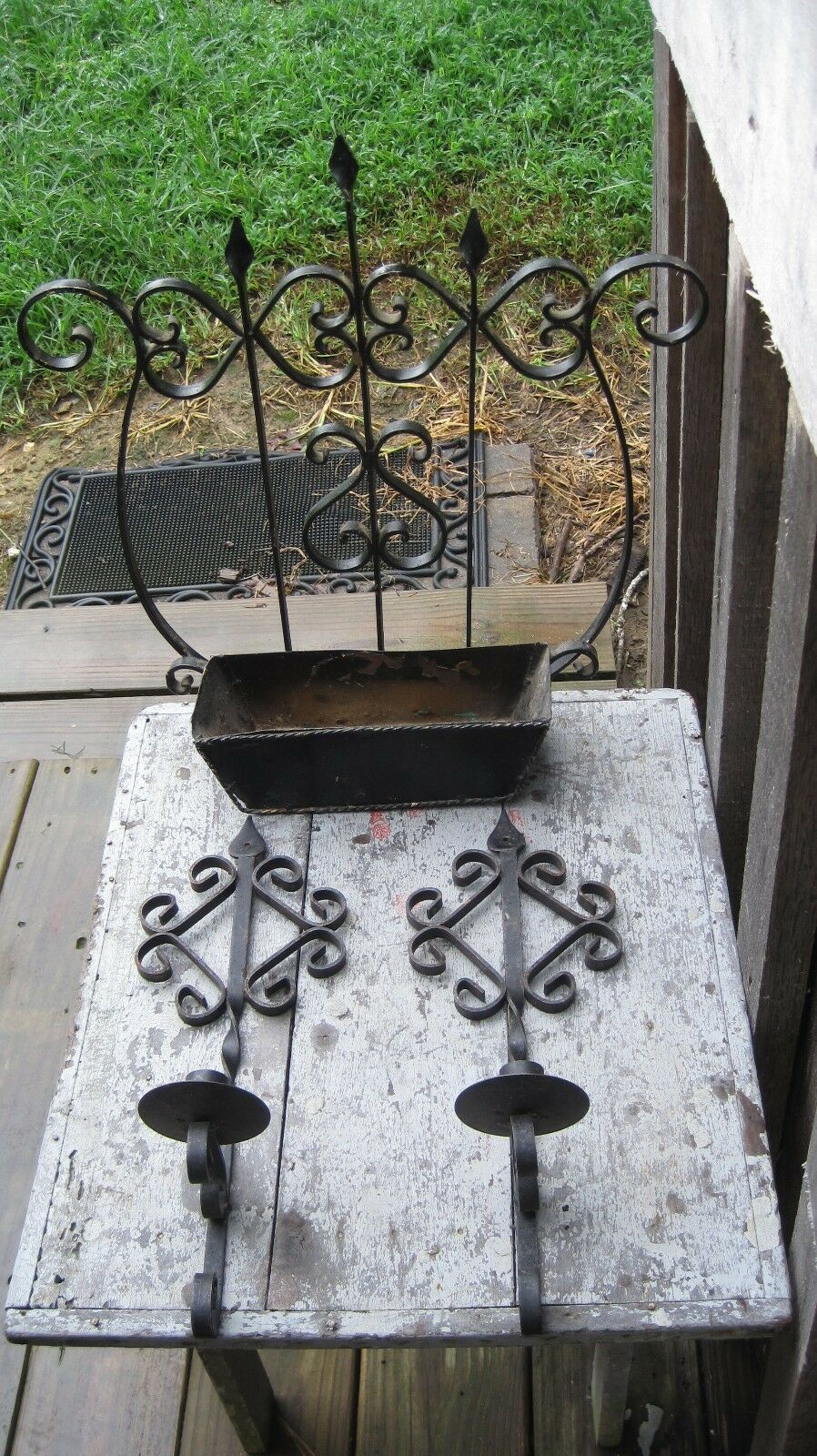 Vintage Black Wrought Iron Wall Pocket Planter W Matching Sconce Taper Holders