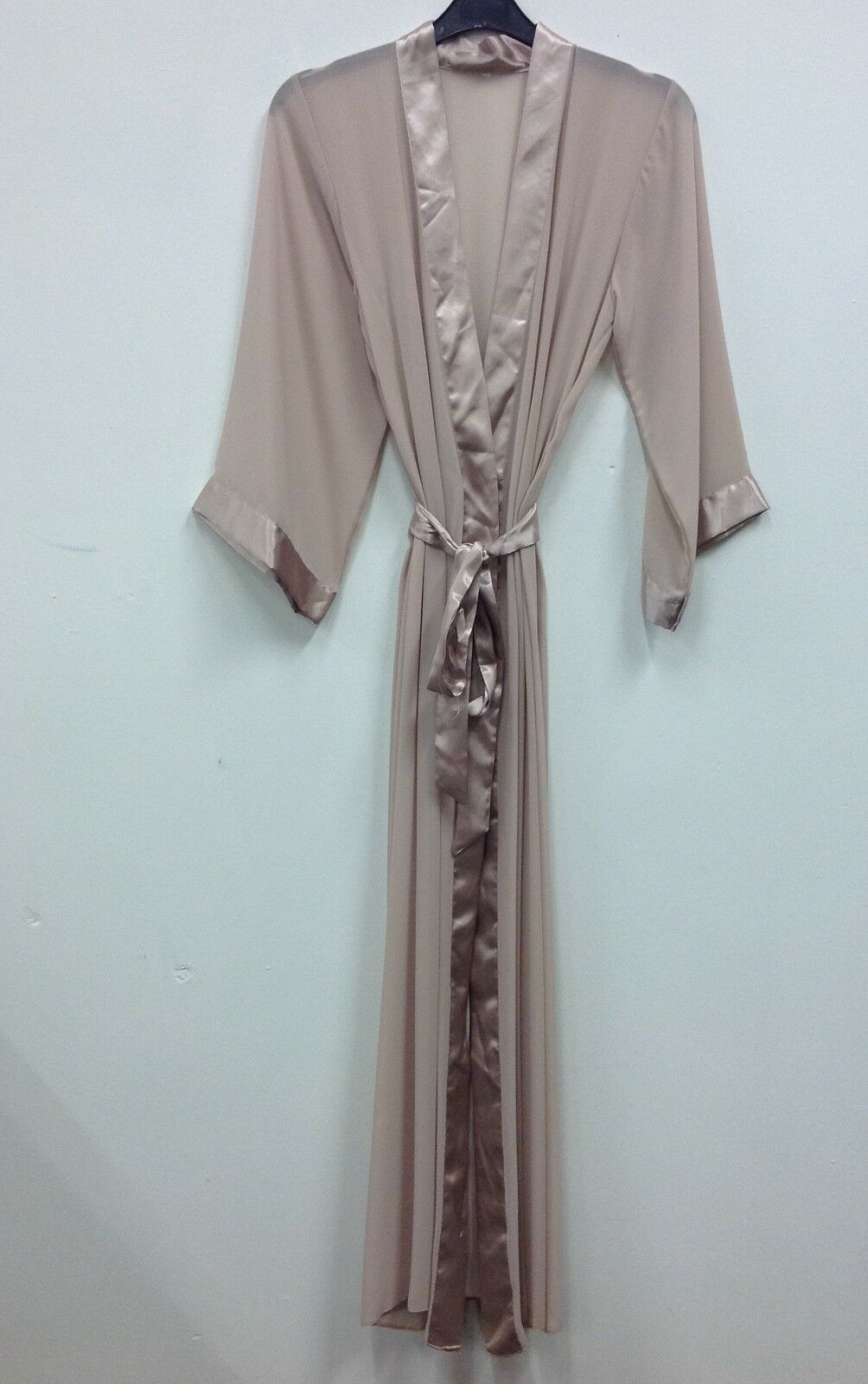 LONG SHEER CHIFFON With Satin Trimming Dressing Gown/robe Uk Sizes 8 ...