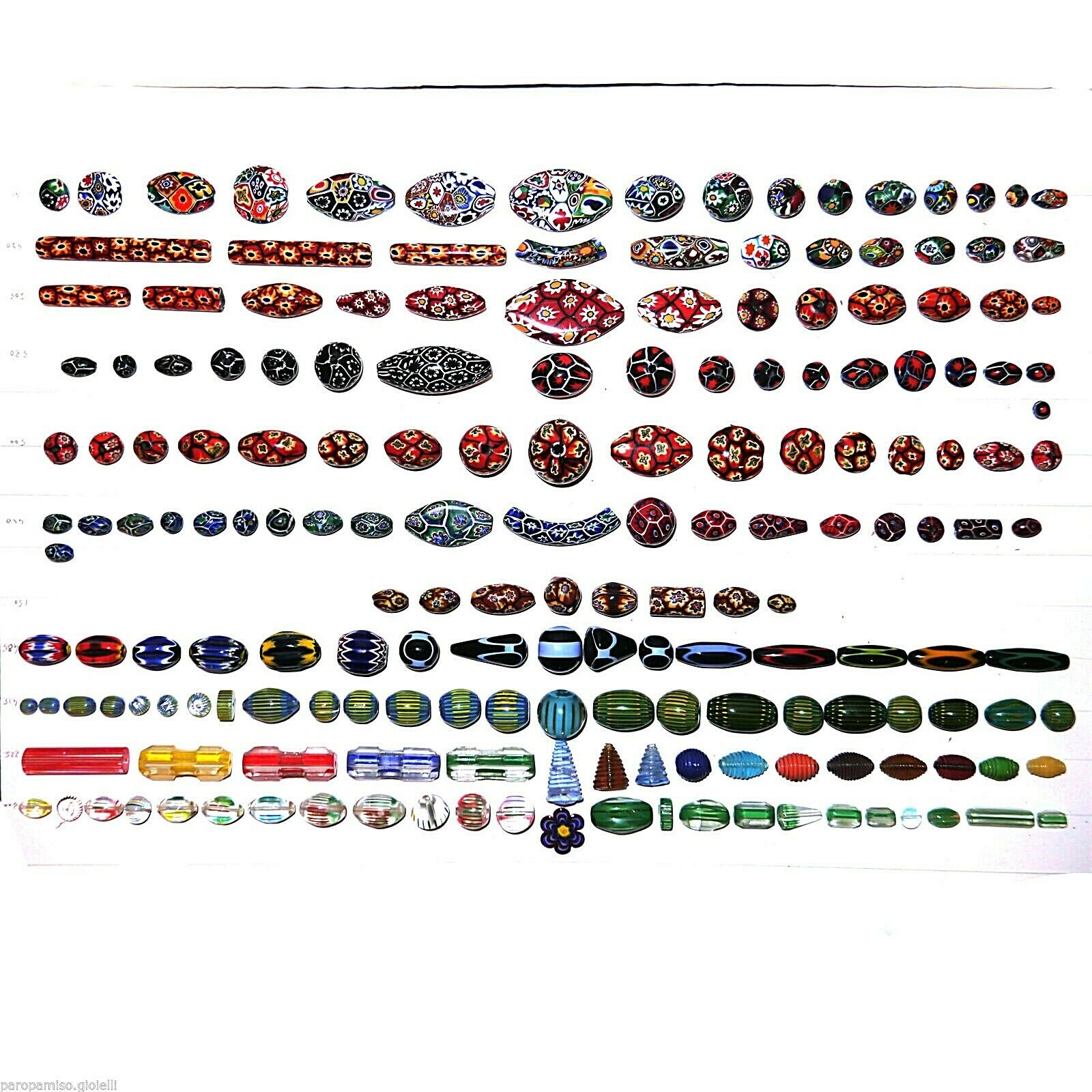 Panel of Moretti's 1920s-1930s Murrine Mosaico and Ground Glass Beads (0858)
