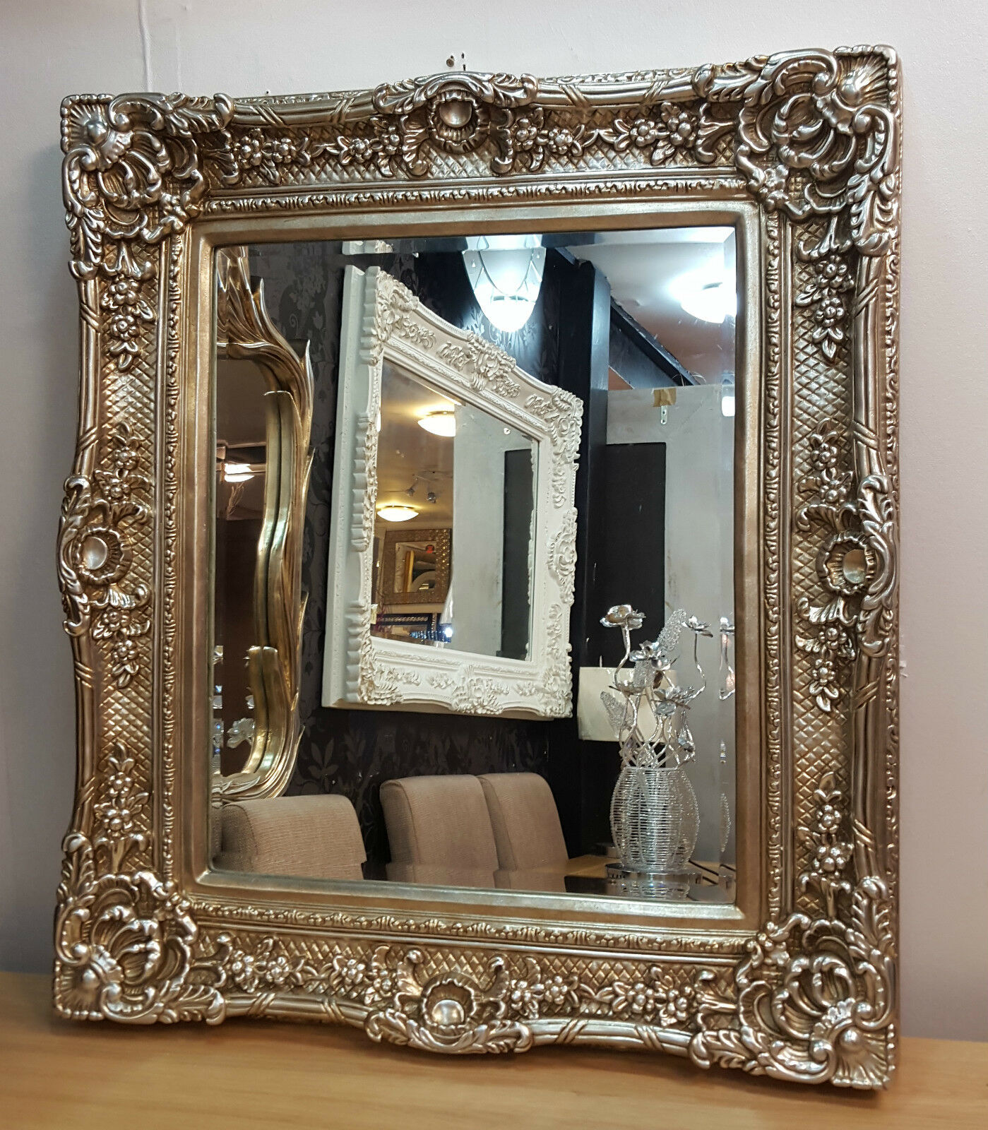 Antique champagne silver ornate vintage french beveled for Antique french mirror