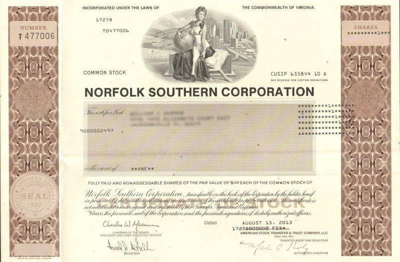 Norfolk Southern Corporation > railroad stock certificate Virginia share