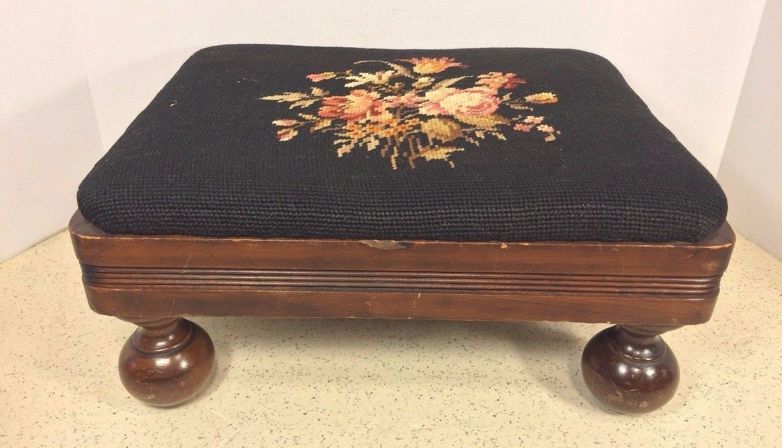 Antique Empire Style Mahogany Footstool w/ Needlepoint Top Cannonball Legs