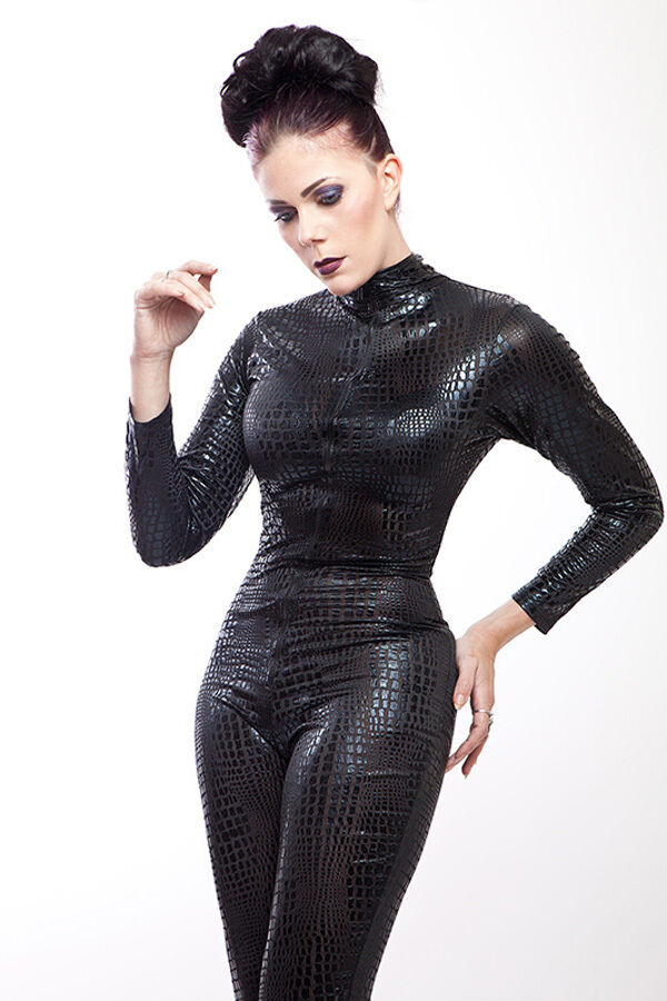 Lycra Catsuit in Kroko look in schwarz / Sexy Lycra Catsuit in Croco  Look