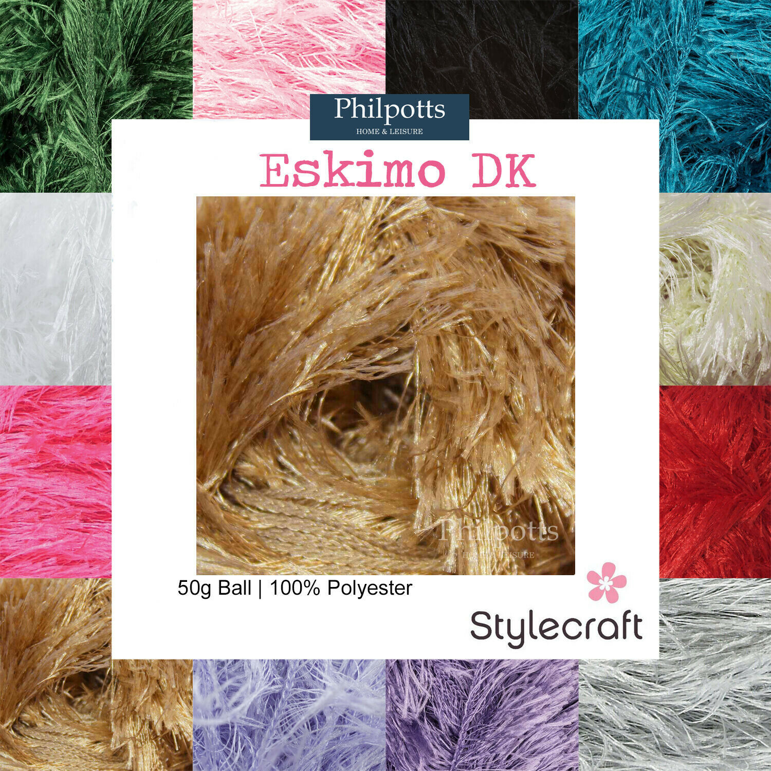 STYLECRAFT ESKIMO DK EYELASH WOOL - DOUBLE KNITTING SCARF HAT YARN 50g   ?1.7...