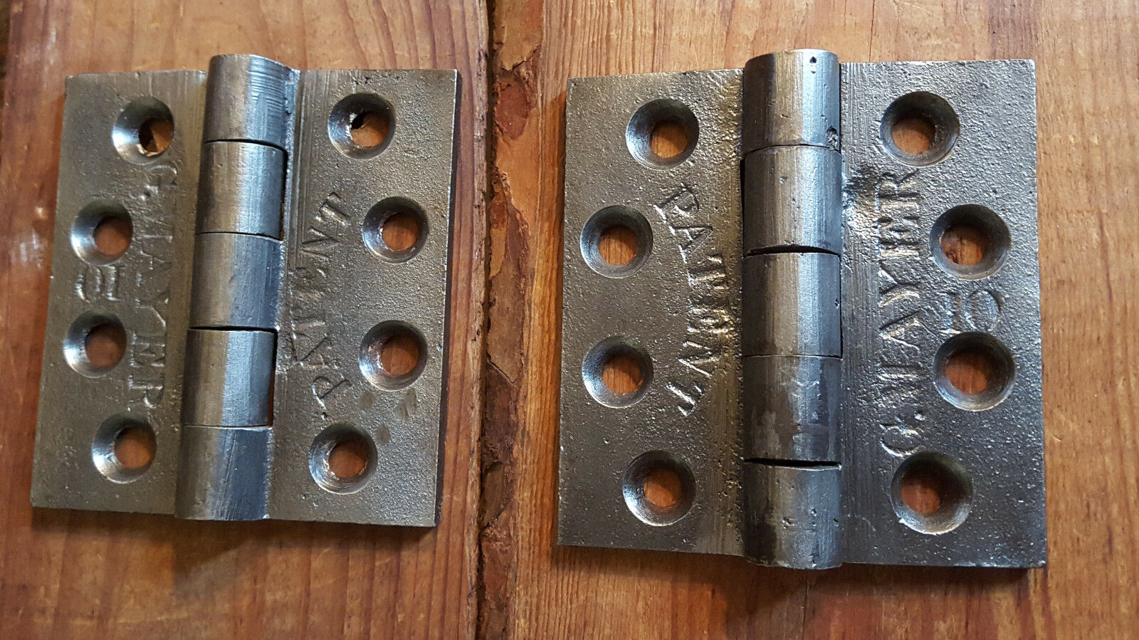 CAST IRON BUTT HINGES-Old 1800s-Vintage Hinges-Restored 3 1/2 X 3 1/4 G. MAYER
