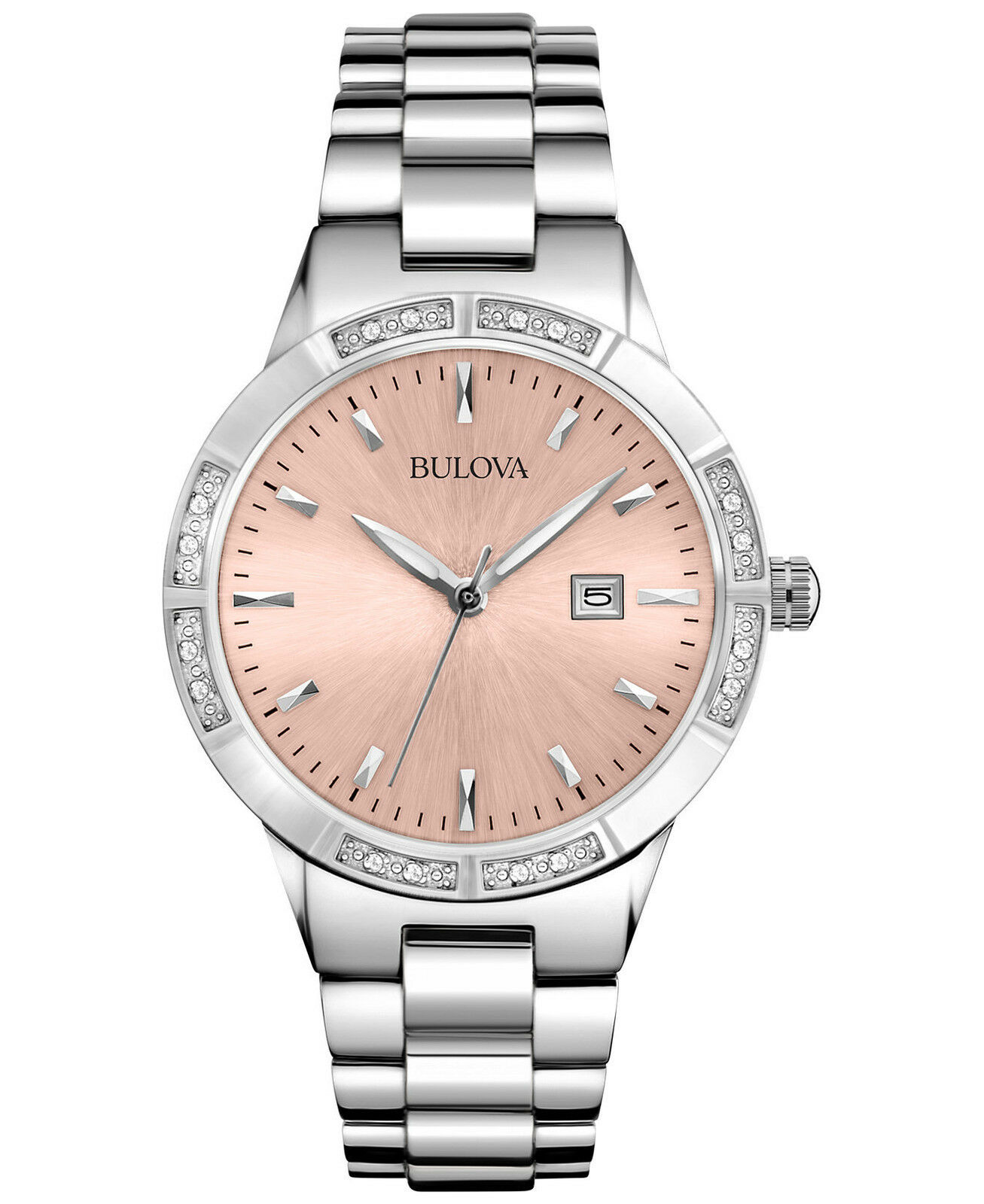 Bulova women 39 s 96r175 silver tone pink dial diamond watch picclick ca for Diamond dial watch