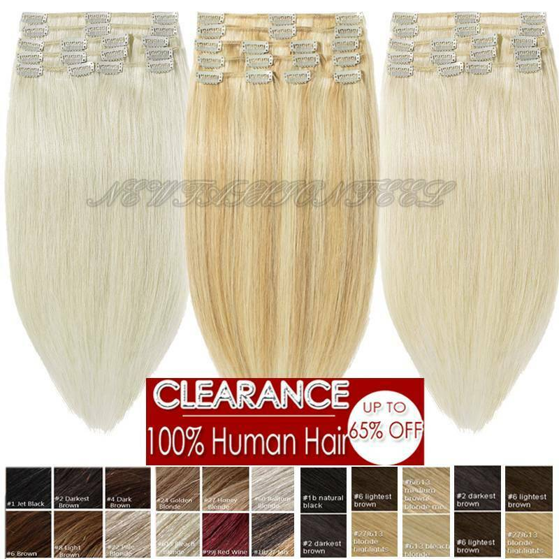Long 18 20 22 Clip In Remy Human Hair Extensions Full Head Cheap