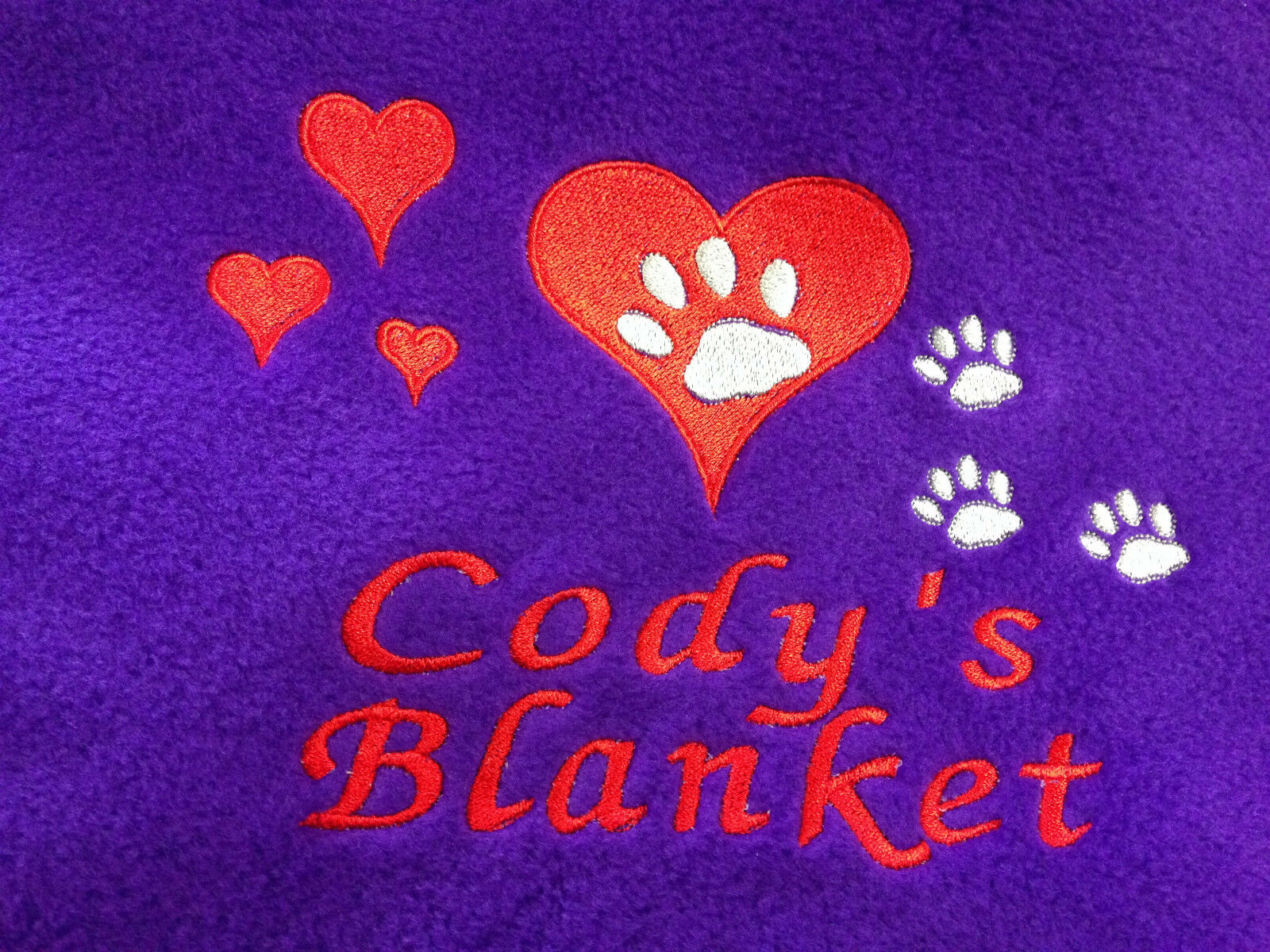 Personalised Embroidered Cat/ Kitten Fleece Pet Blanket Hearts & Paws gift