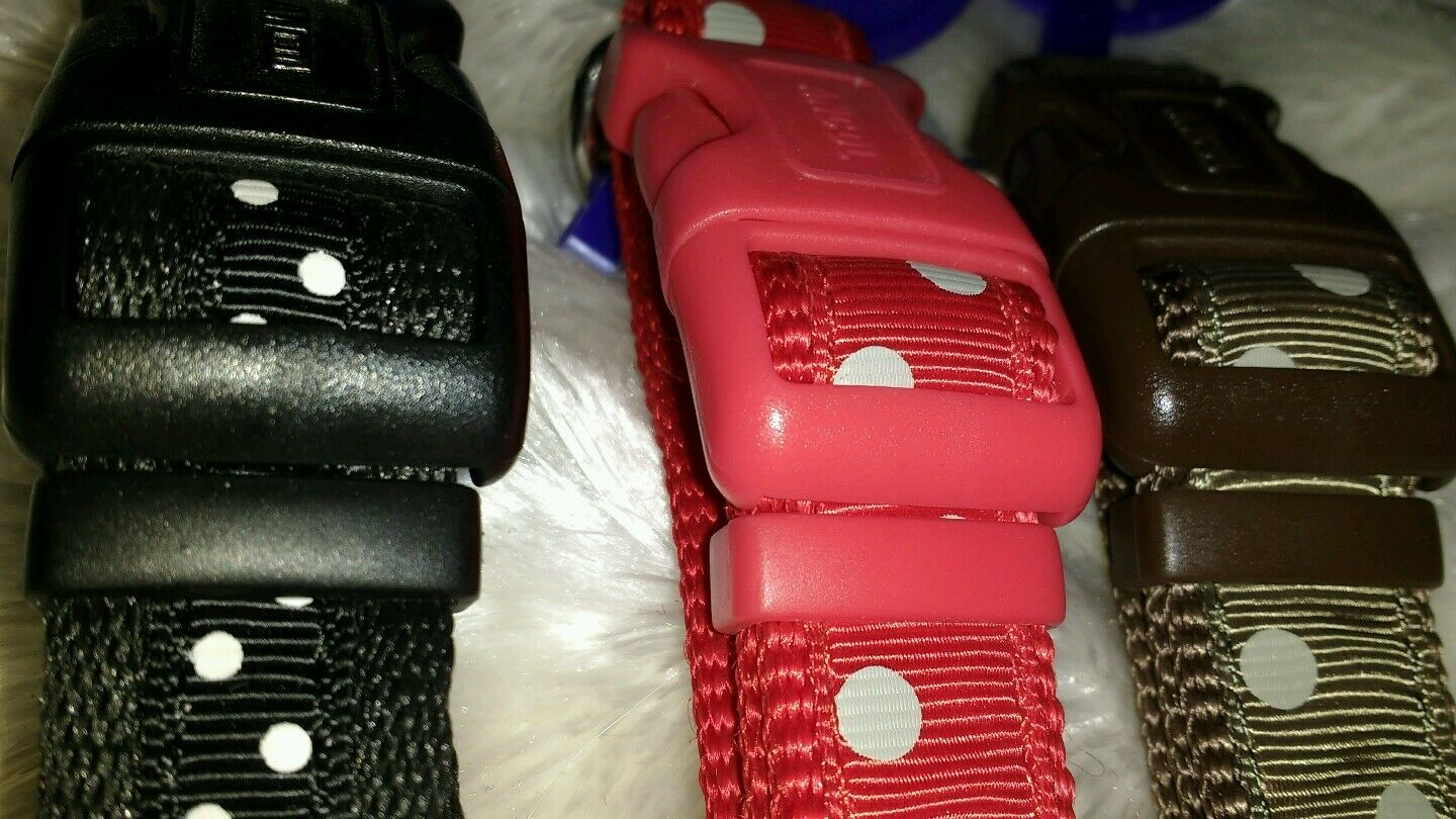 Ancol Quick Release Indulgence polka Dot Spot Dog Collar Brown Red Black LEAD