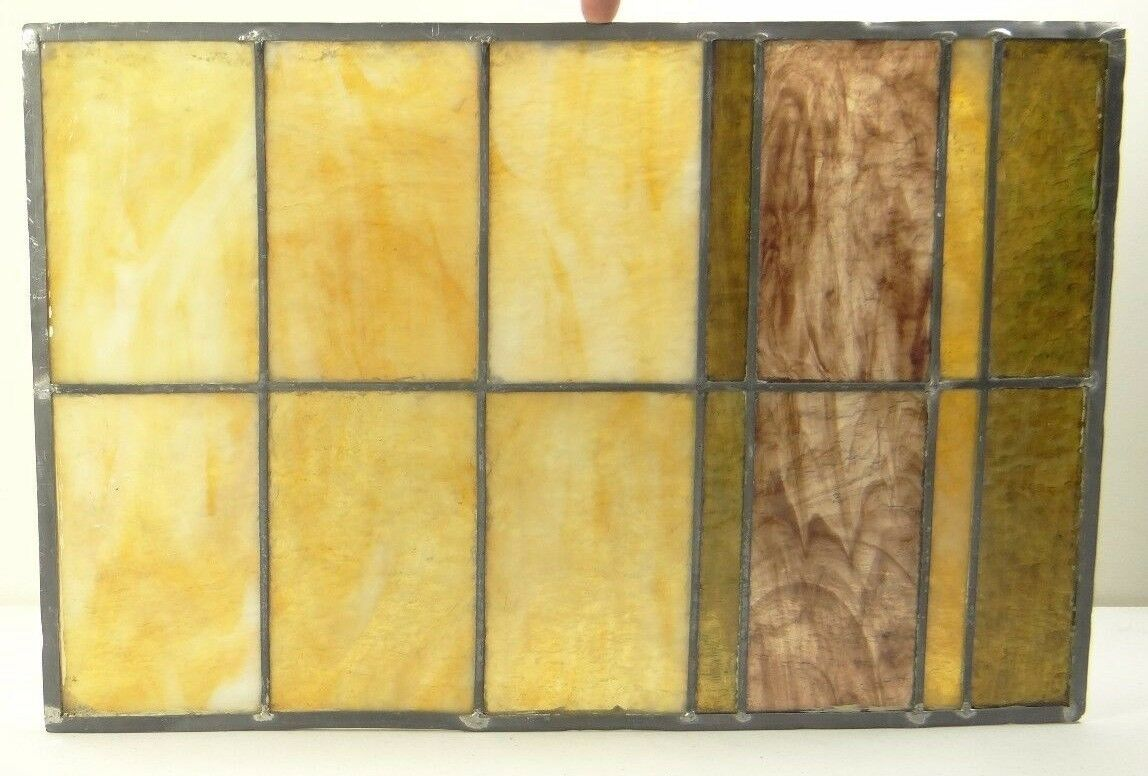 GEOMETRIC RECTANGULAR LEADED-STAINED GLASS WINDOW~Art Deco 22x15~HEAVY OBSCURITY