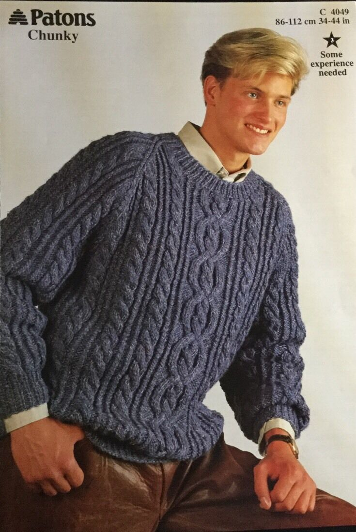 PATONS Chunky Knitting Pattern 4049 Mens Sweater Jumper Size Size 34 ...