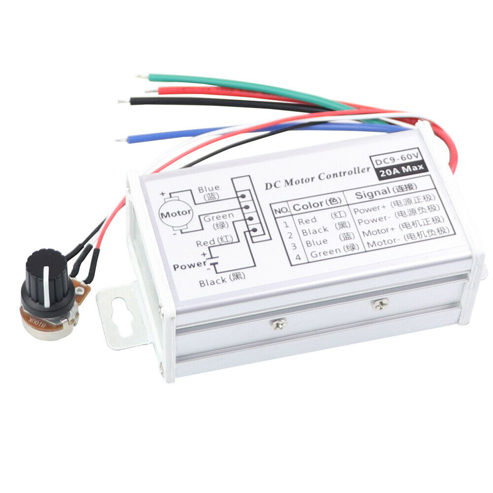 12v 24v max 20a pwm dc motor stepless variable speed for 12v dc motor controller