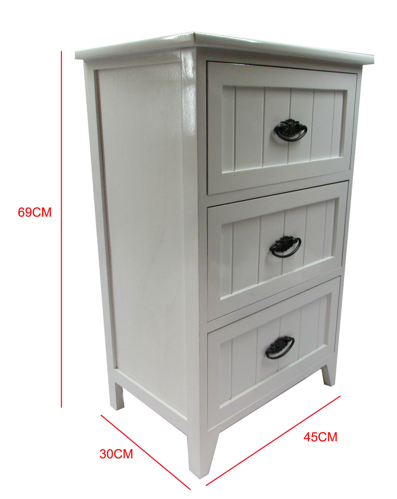 New white gloss wooden small 3 drawer bedside table for Very small bedside cabinets