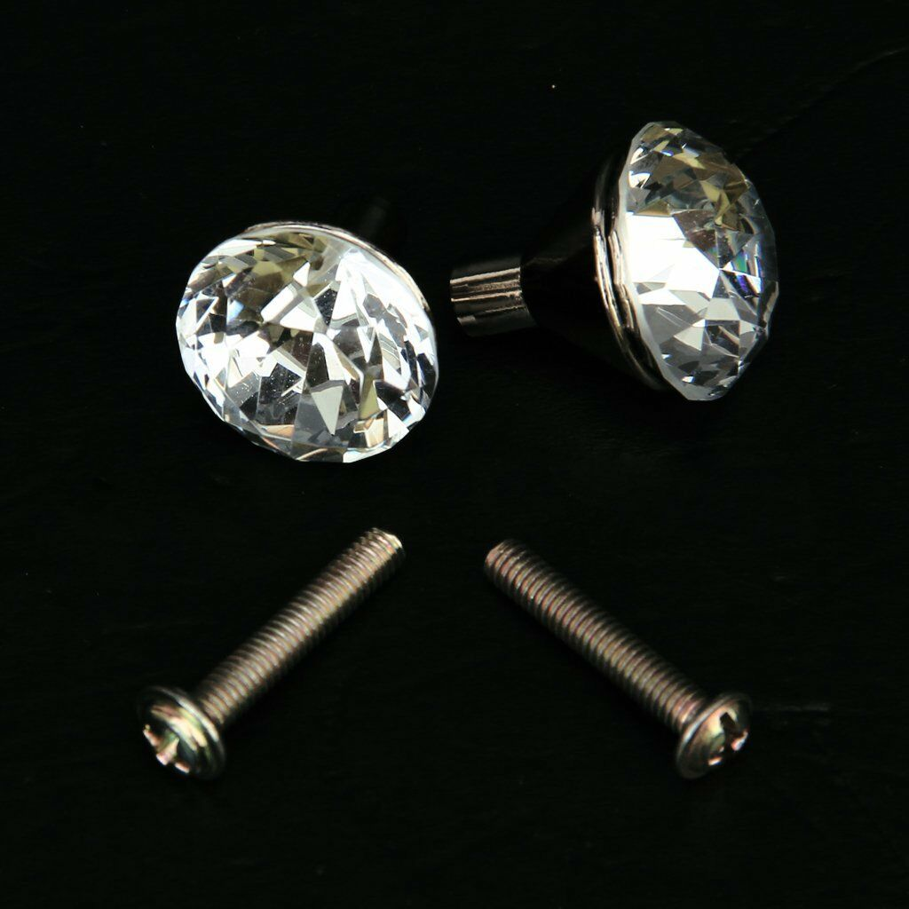 2x Zinc Alloy Small Crystal Drawer Knob Pull Handle AD