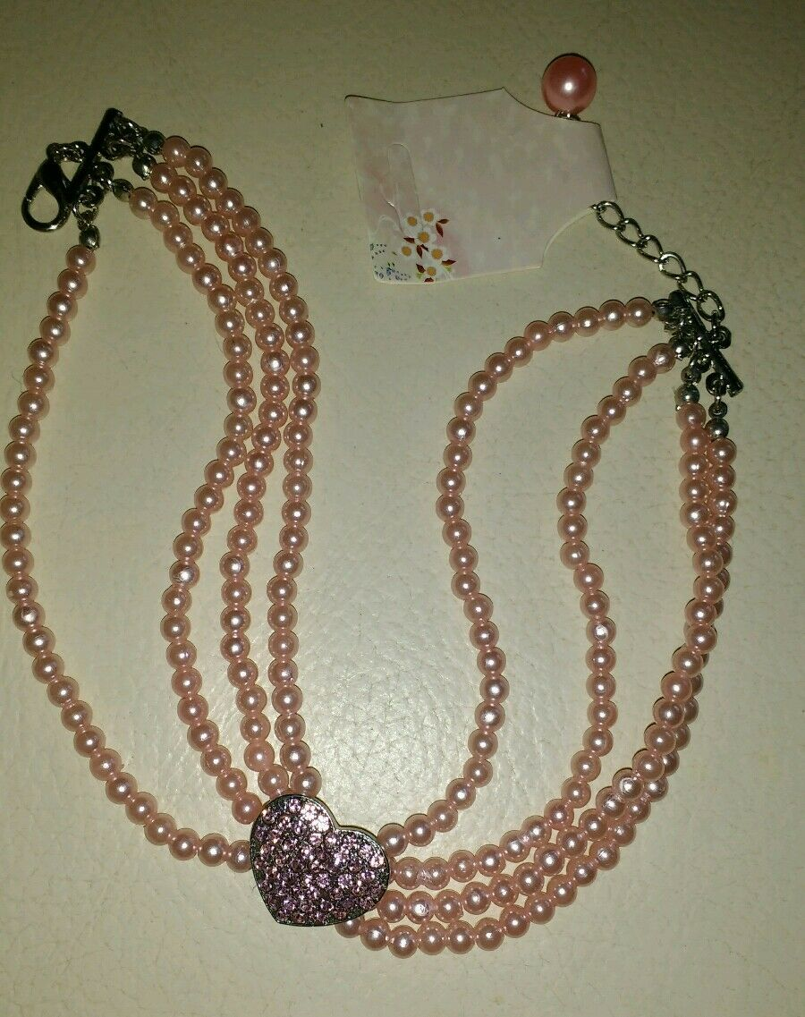 PINK 3 STRAND PEARL and DIAMANTE HEART PET JEWELLERY COLLAR FOR  SMALL DOGS