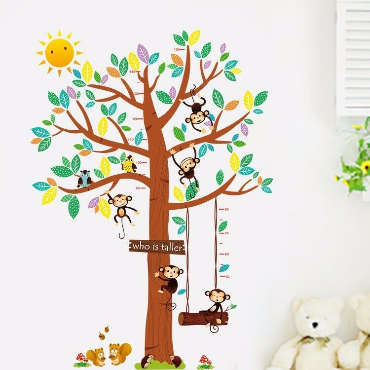 wandtattoo wandsticker affe messlatte aufkleber kind baum xxl wald eule tiere eur 11 98. Black Bedroom Furniture Sets. Home Design Ideas