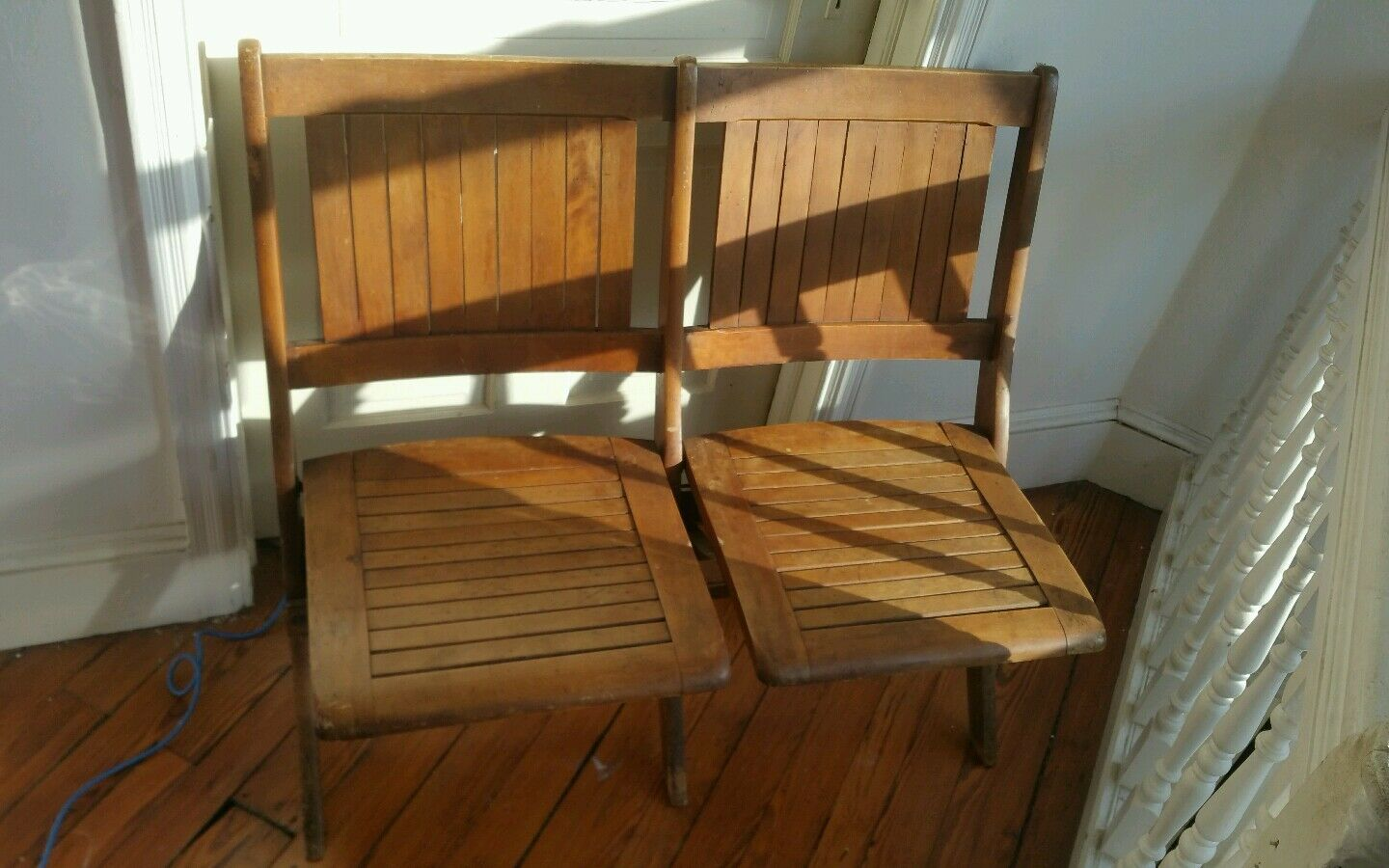 WOODEN FOLDING Bench Chairs Vintage - $99.95 | PicClick