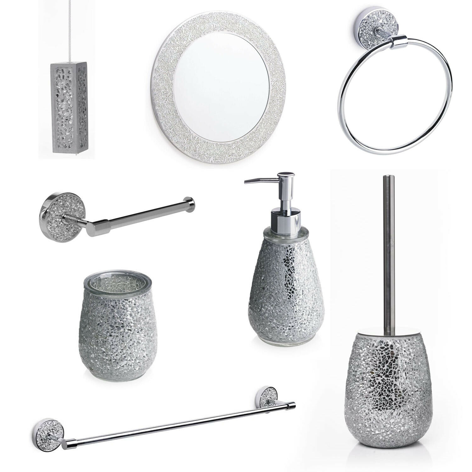 Silver mosaic bathroom accessories silver sparkle mirror for Bathroom accessories silver