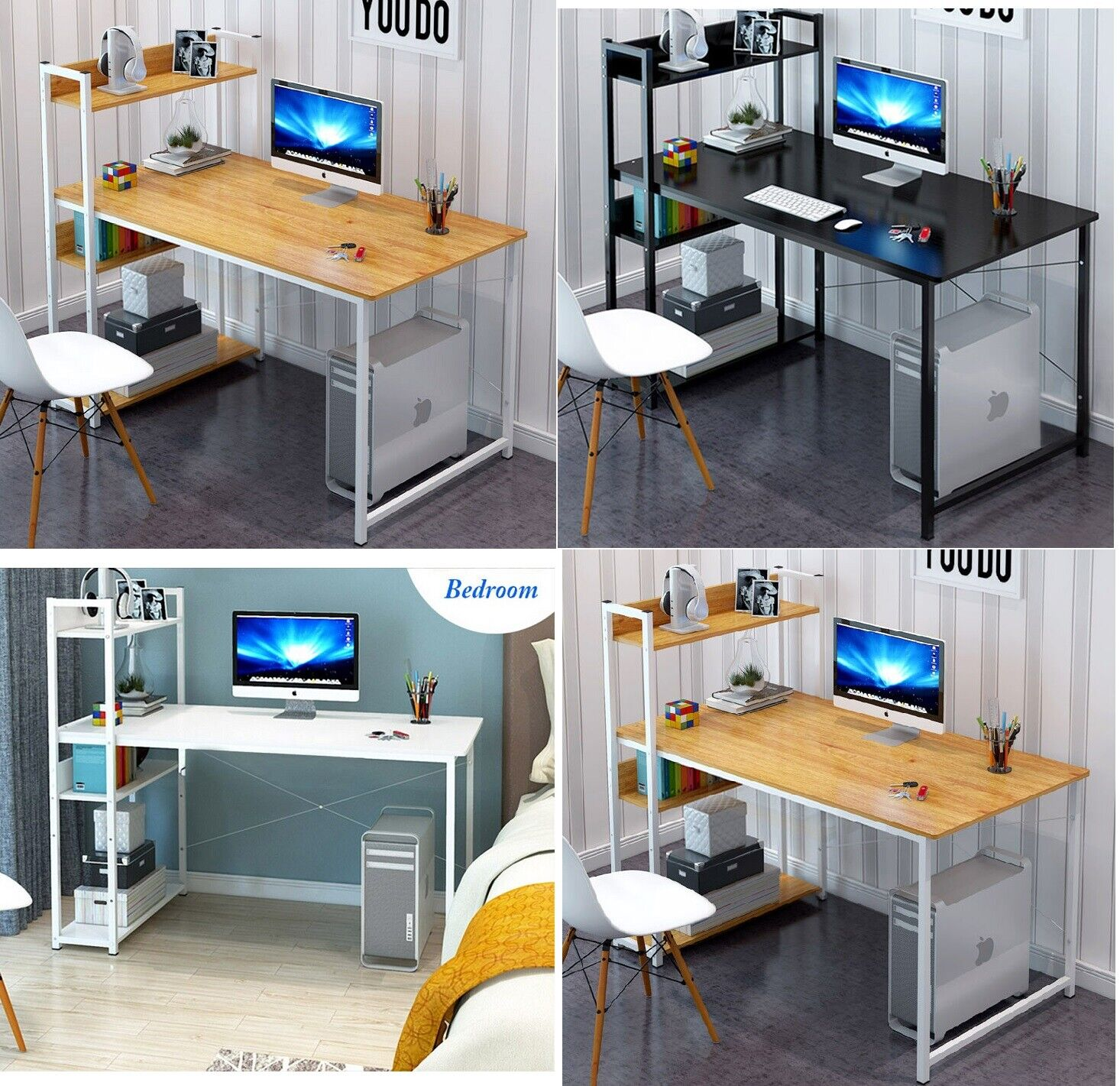 Home Office Study Work Station Computer Desk Table Storage Book Shelf Organiser 1 Of 12free