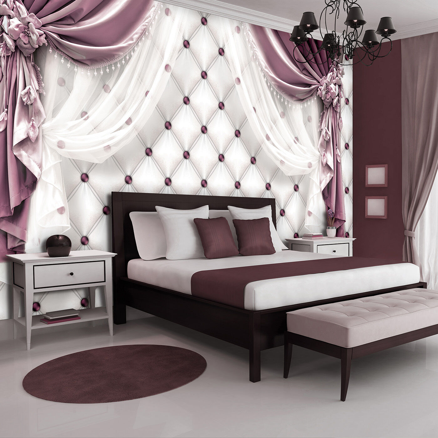 poster wandbild tapeten fototapete tapete stepp vorhang blumen rosa 3fx3560p8 eur 29 90. Black Bedroom Furniture Sets. Home Design Ideas