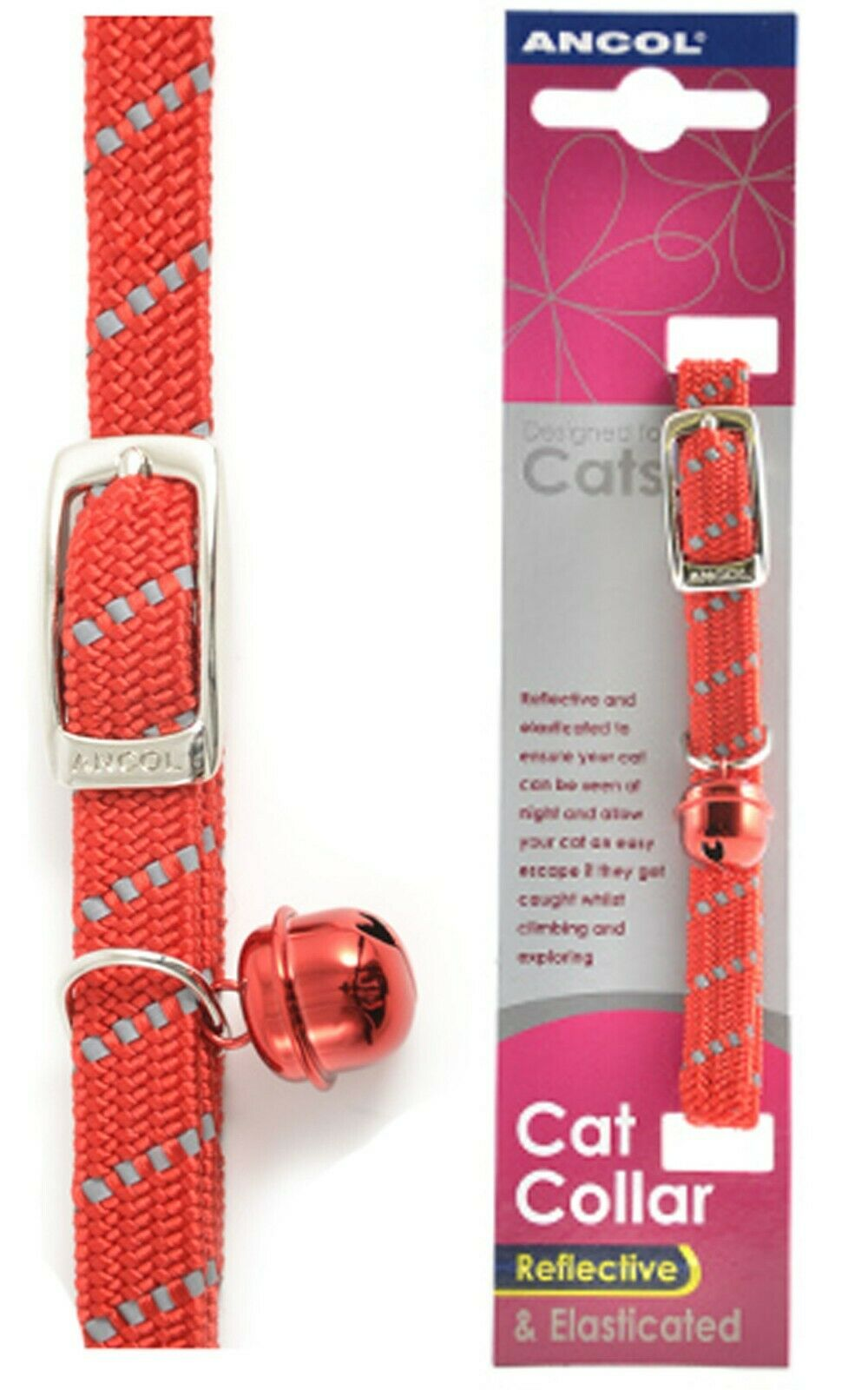 Ancol Reflective Softweave Cat Collar Red