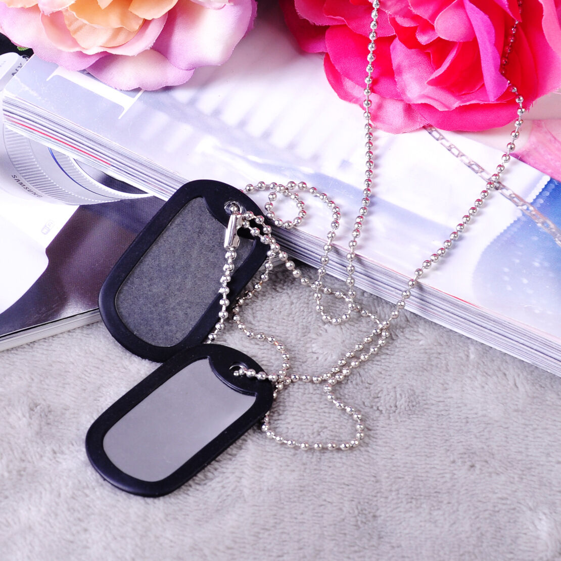 2x Silver Matte Military Army Blank Pendant Dog Tag With Stainless Steel Chains