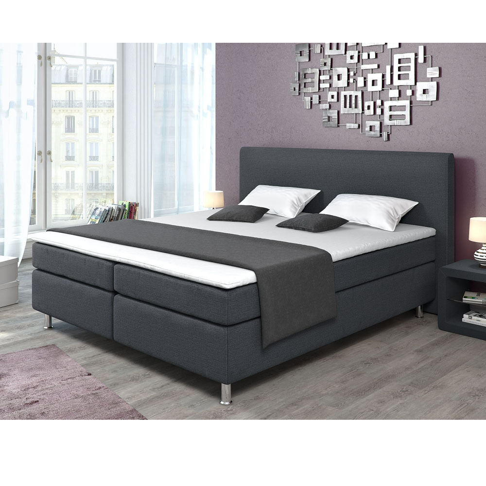 designer boxspringbett polsterbett bett doppelbett ehebett grau 180x200 cm eur 549 90. Black Bedroom Furniture Sets. Home Design Ideas
