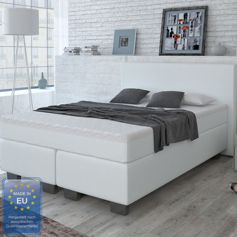 designer boxspringbett bett hotelbett doppelbett kunstleder wei 140x200 cm eur 499 90. Black Bedroom Furniture Sets. Home Design Ideas