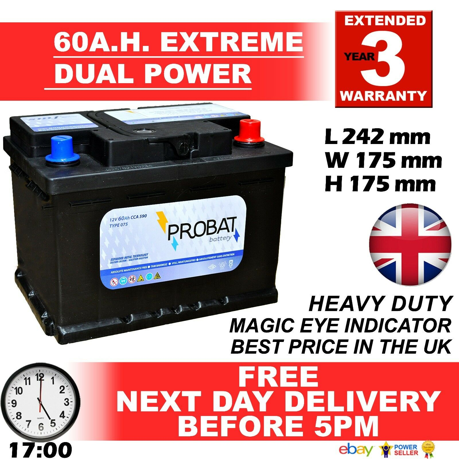 60 ah amp battery dual powerow height maintenance free sealed 80 85 l picclick uk. Black Bedroom Furniture Sets. Home Design Ideas
