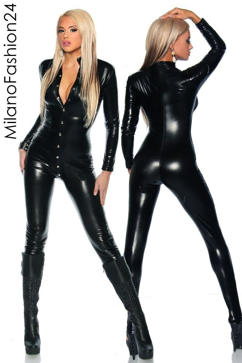 Sexy OVERALL Kleid Wetlook Clubwear Abend Party Schwarz Lack Dessous Leder