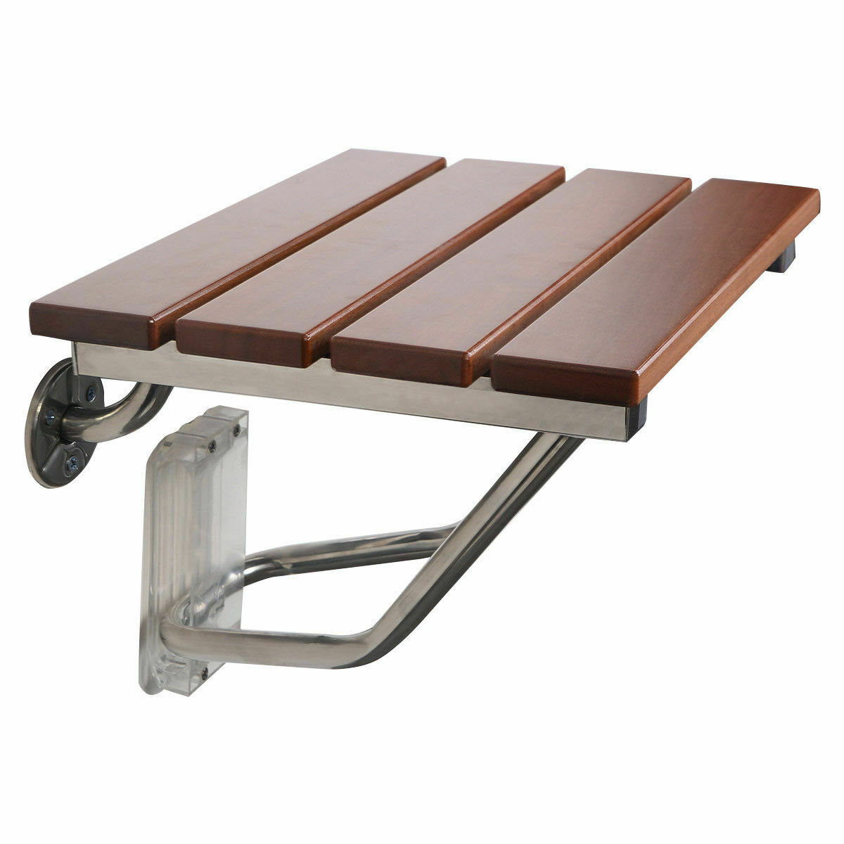 NEW FOLDING BATH Seat Bench Shower Chair Wall Mount Solid Wood ...