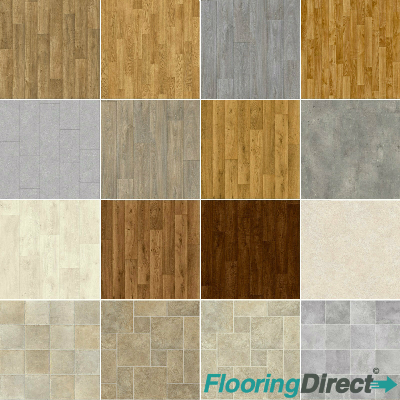 Wood Plank Vinyl Flooring Tile Effect Quality Lino Anti Slip Kitchen