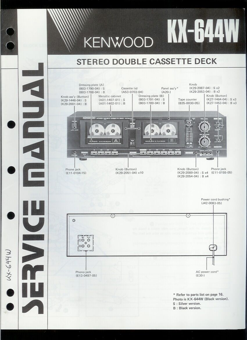 Rare Orig Factory Kenwood KX 644W Stereo Cassette Deck Service/Repair Manual  1 of 1Only 1 available See More