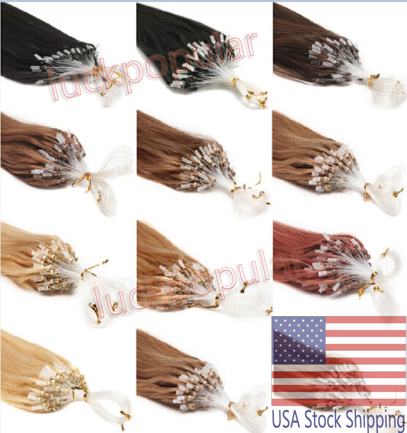 Indian Remy Human Hair Extensions Micro Ring Bead Easy Loop Straight