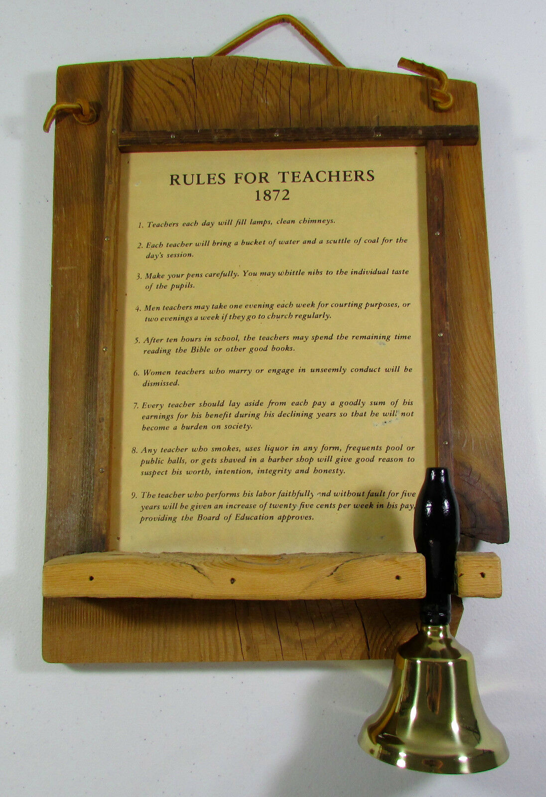 VINTAGE WOOD FRAMED Rules For Teachers 1872 With Bell Art Decor Wall ...