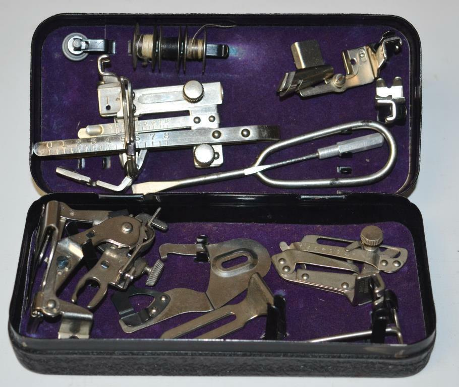 Vintage Sewing Machine Accessories/Attachments In  Metal Box   [PL-2349]