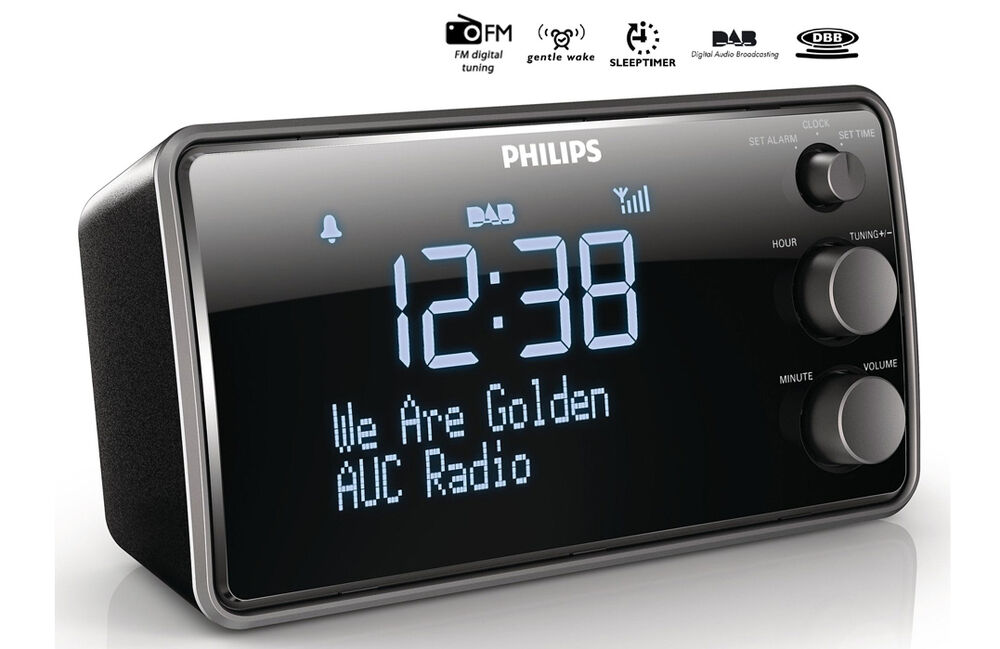 philips ajb3552 dab digital fm radio alarm clock large lcd display black cad. Black Bedroom Furniture Sets. Home Design Ideas