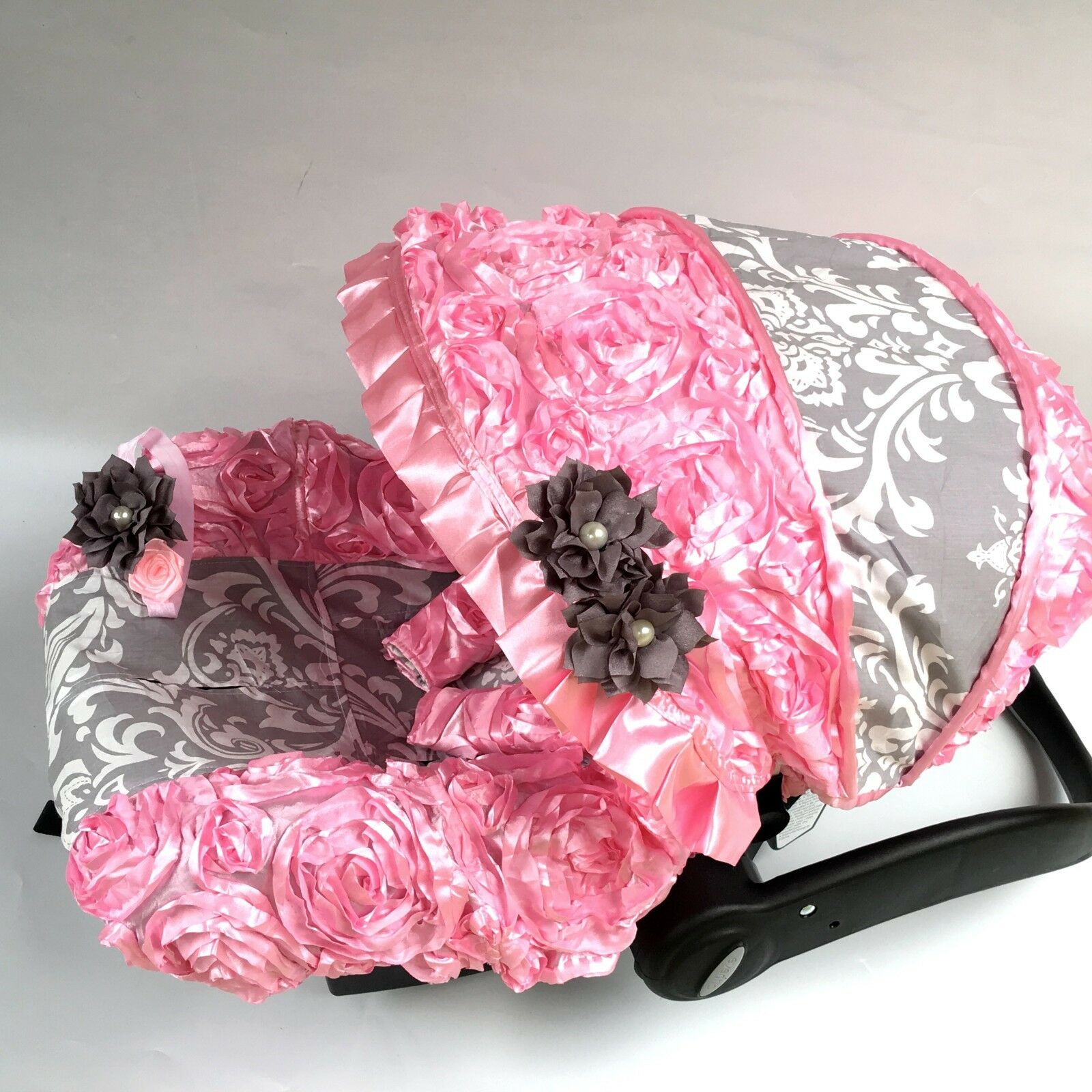 Baby Car Seat Cover Canopy Cotton Set Fit Most Seat 3d Pink White