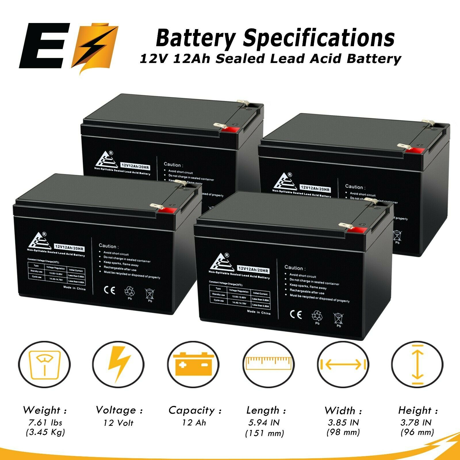 4 Pack 12v 12ah Ebike Electric Scooter Battery E Bike Boreem Bladez Xtr Wiring Schematics 1 Of 6free Shipping