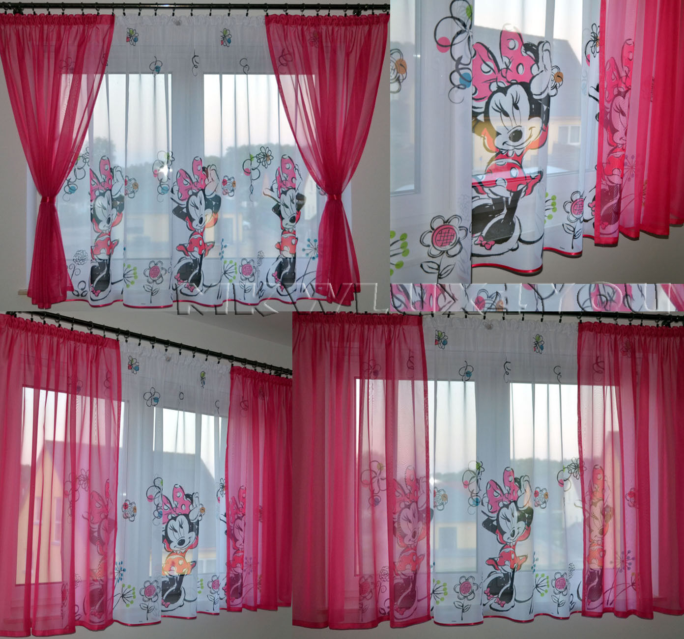 disney gardine minnie mouse rosa pink vorhang. Black Bedroom Furniture Sets. Home Design Ideas
