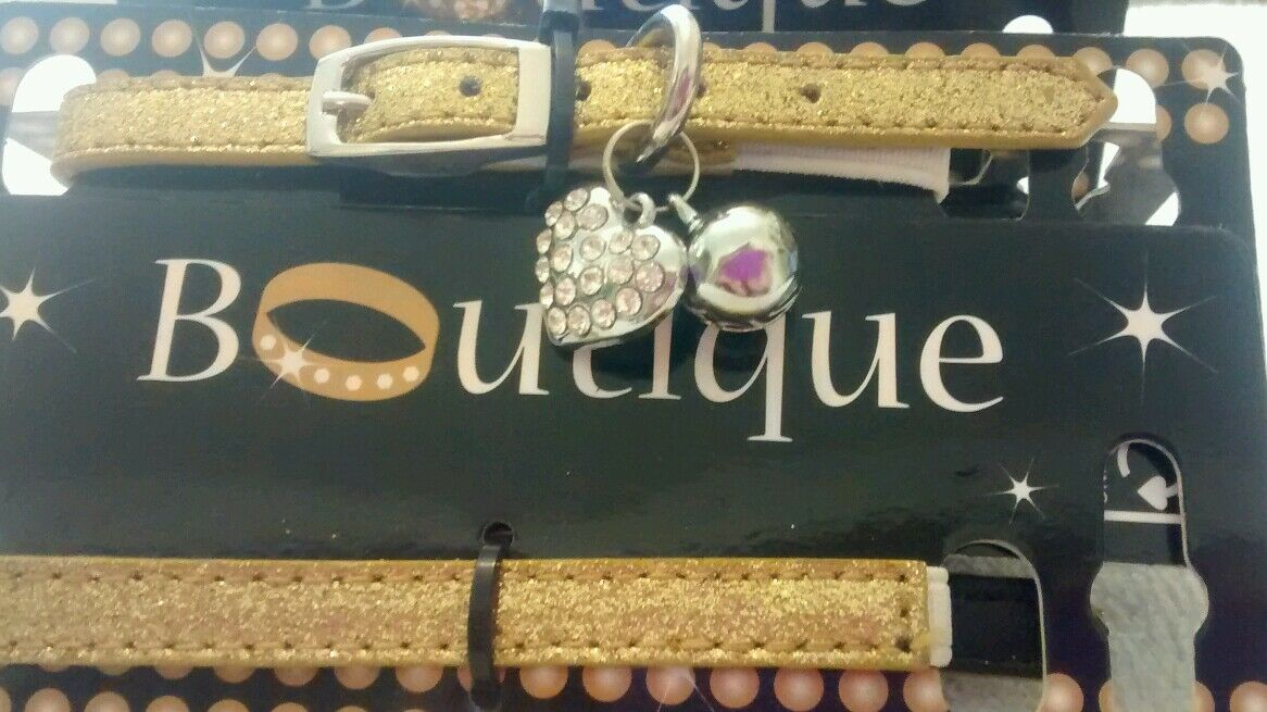 Boutique Designer Cat Collar Gold Glitter with Heart Charm 3 for price of 2!!!