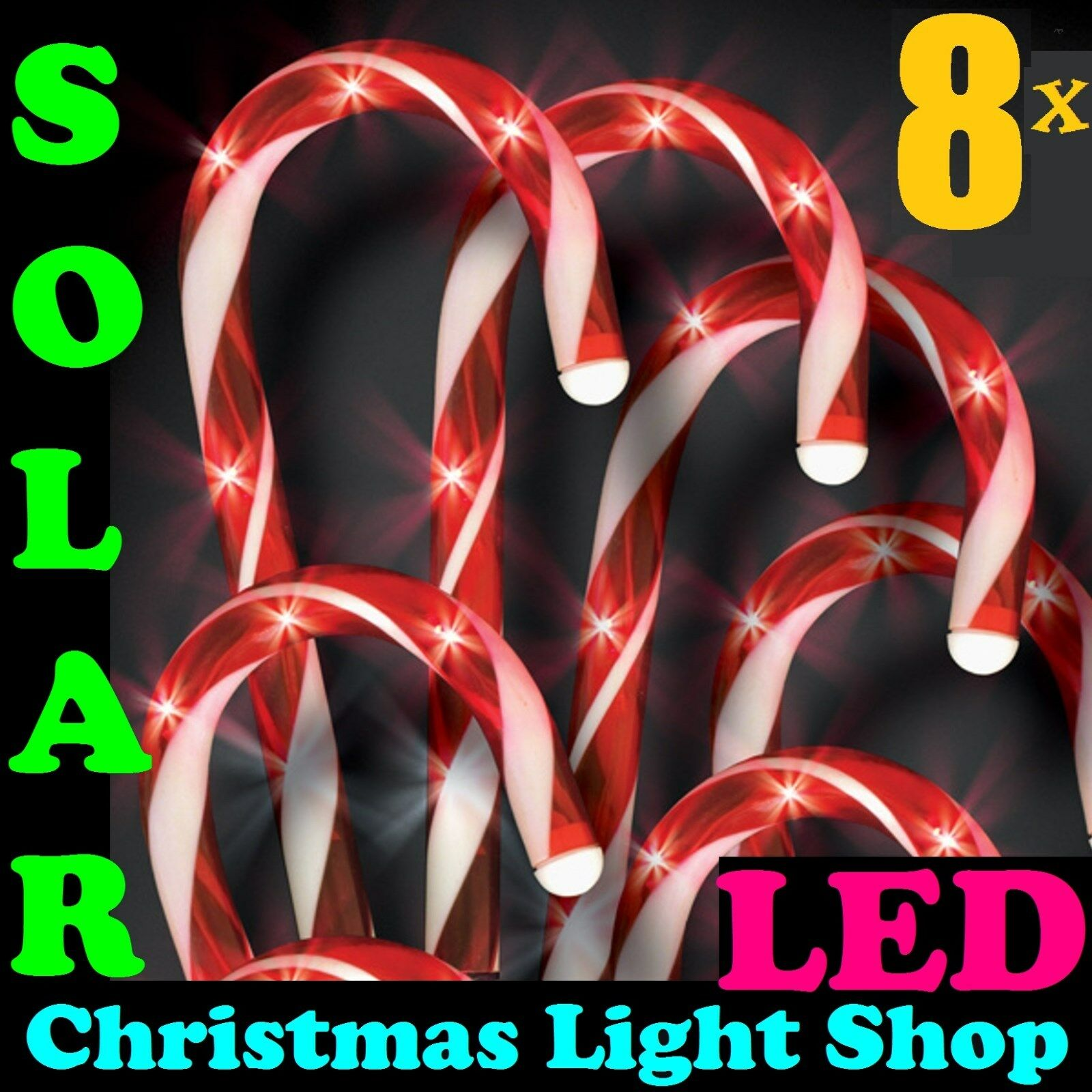 NEW Set 8 Solar LED Red & White Candy Canes Christmas Garden Path Lights Outdoor