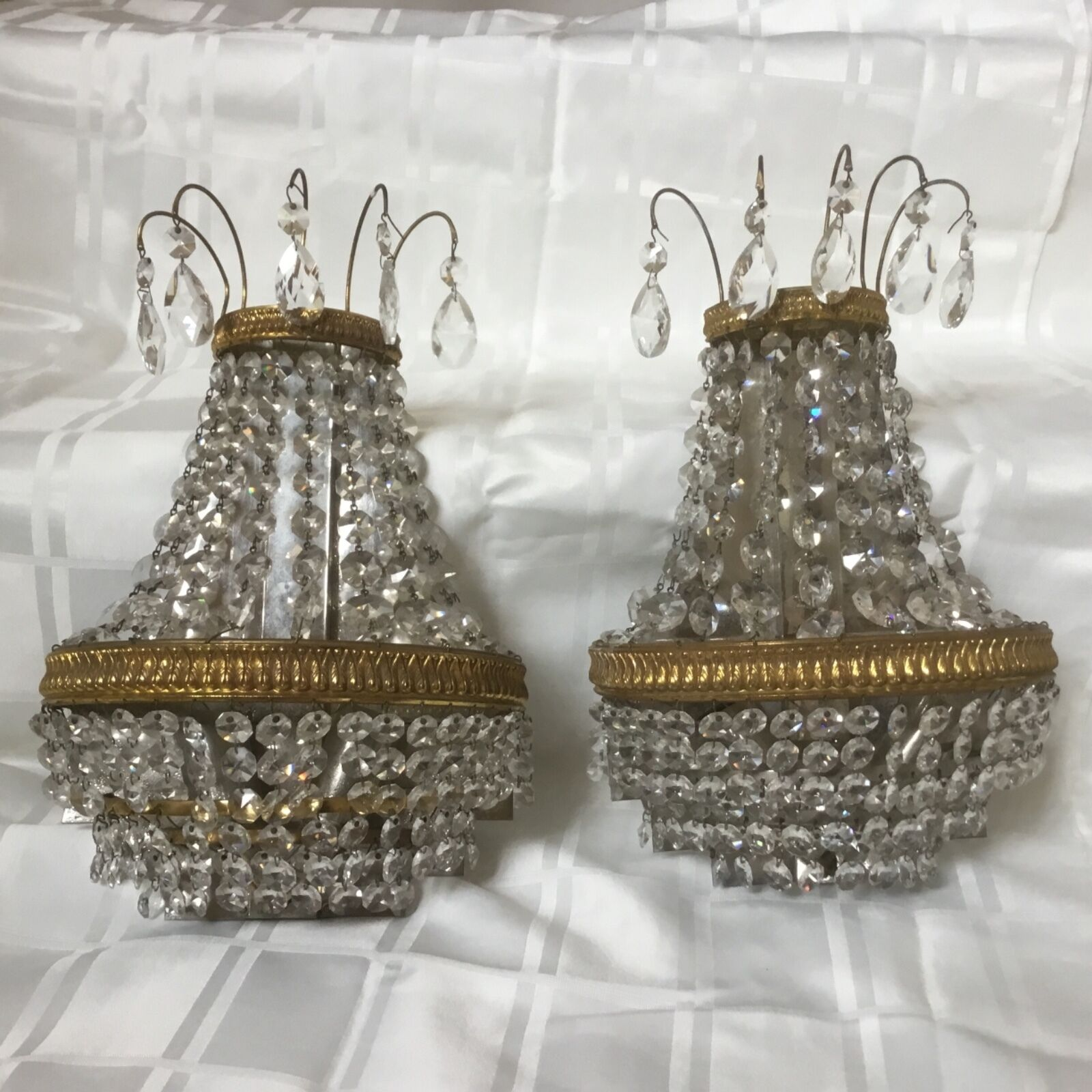 Antique Bronze Crystal Beaded French Empire Chandelier Wall Sconces Pair Germany