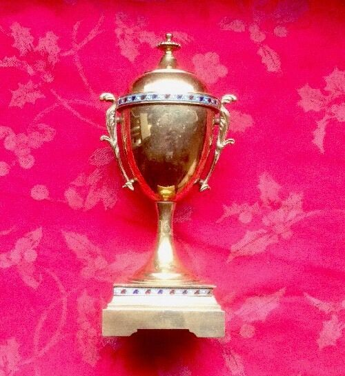Single Cloisonné Brass Urn From Clock Garniture For Spares