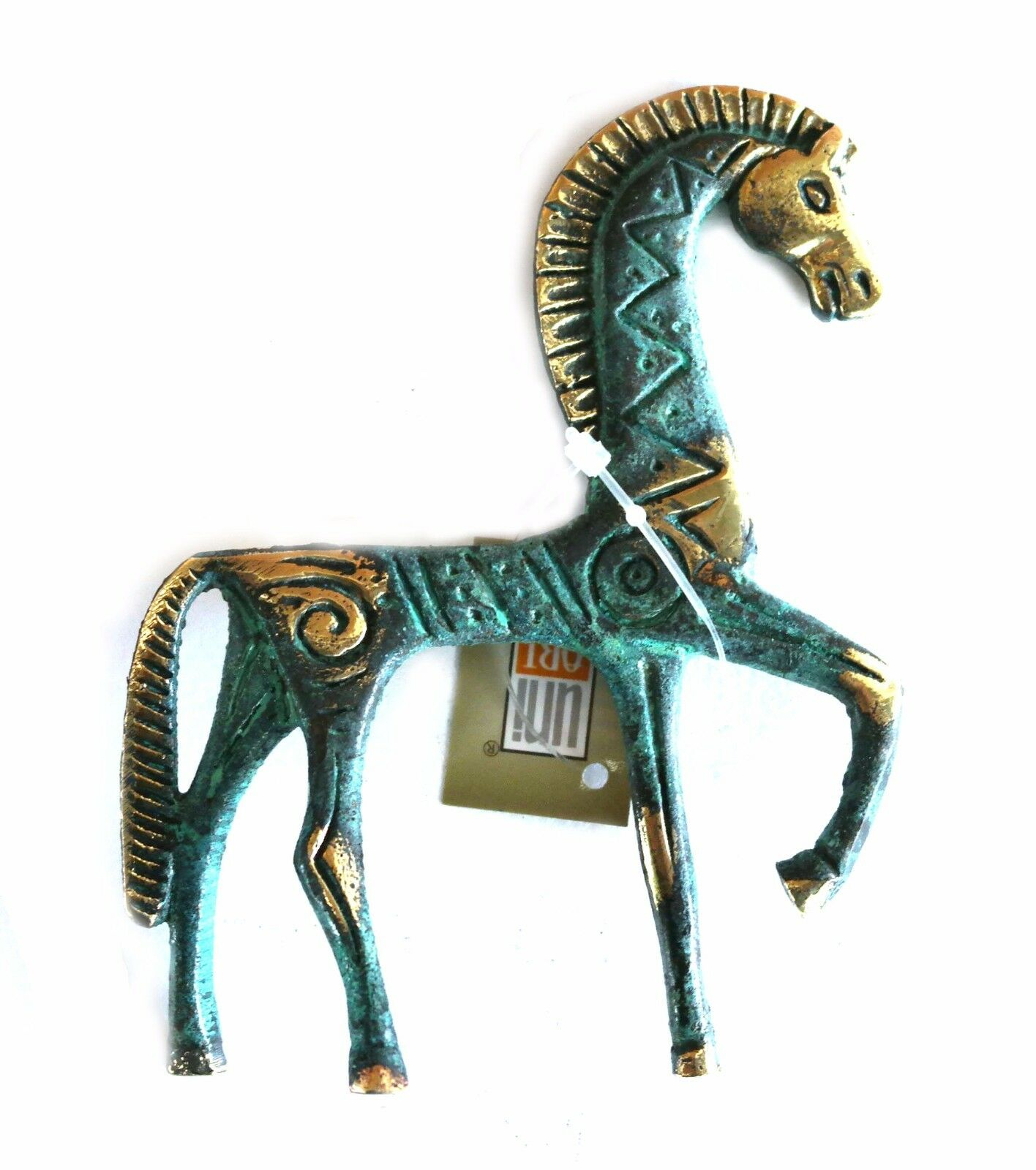 Ancient Greek Bronze Replica Geometric Horse Green-Gold Oxidization 123
